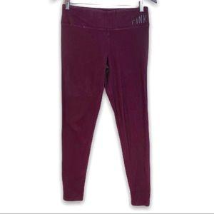 VS PINK Yoga Burgundy Cotton Blend Leggings, M